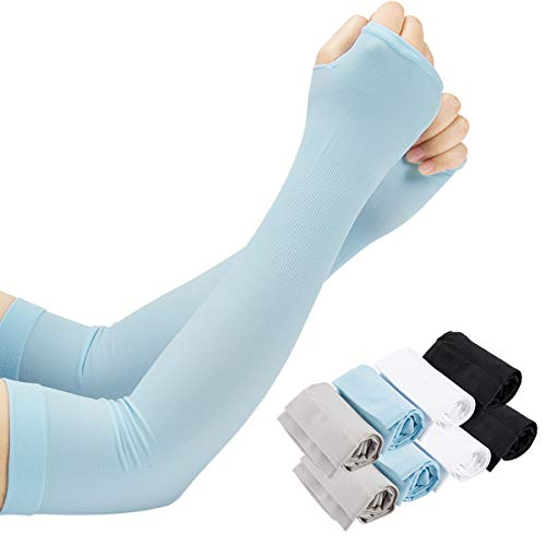 PAMASE 8 Pairs Thicker Unisex UV Protection Cooling Arm Sun Sleeves Men Women- Long Sunblock Ice Silk Cooler Sleeves Arm Cover with Thumb Hole for Running, Biking, Driving, Fishing, Golf, Hiking
