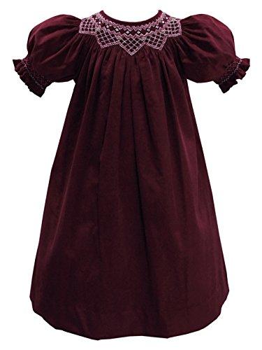 Carouselwear Christmas Hand Smocked Burgundy Girls Bishop Dress