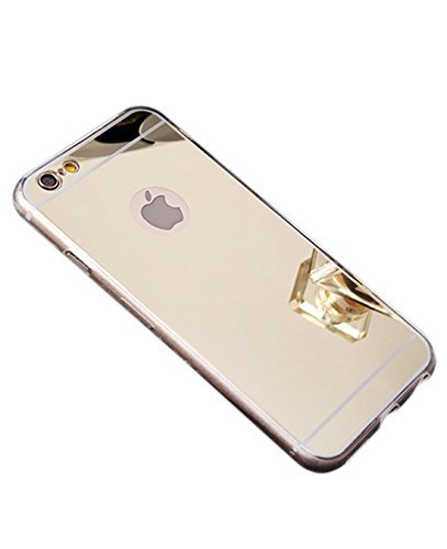 Gold Case Iphone - iPhone 7 case, Luxury Back Mirror Clear Slim TPU Bumper Shock-Absorption Anti-Scratch Protective Case Cover Bright Reflection Cute and Elegant for Apple iPhone 7 (2016)- Gold
