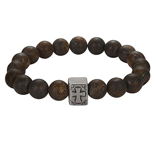 Religious Retro Bead Bible Bracelet-Prayer Antique Cross Charm Natural Stone for Men Cool Guy Energy Power Balance Meditation Jeka Jewelry (Prayer Bible Charm)