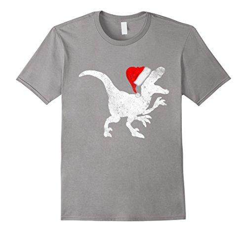 Raptor Costume Christmas (Mens Santa Hat Raptor Costume Tshirt Christmas Gift Dinosaur Tee 2XL Slate)