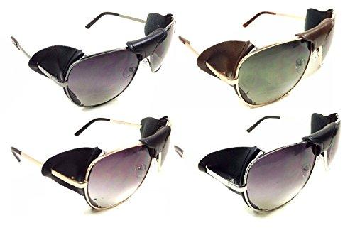 985b9daf05e Retro Aviator Sunglasses w  Faux Leather Bridge   Side Shields ...