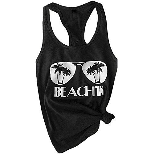 (HGWXX7 Women's Summer Casual Plus Size Sleeveless Beach Blouses Shirt Tank Tops (M, Black))