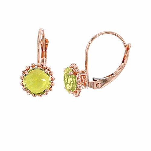 - 14K Rose Gold 6mm Round Lemon Quartz Center Stone Bead Frame Leverback Earring