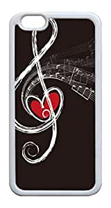 iPhone 6 Cases & Covers Musical Notes with Heart Custom TPU Soft Case Cover Protector for iphone 6 4.7inch ¡§C White
