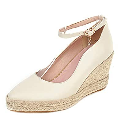 Zanpa Women Classic Pumps Wedge High Heels Pumps Platform Low Top Shoes Ankle Strap Office Shoes Weaving Heels Beige Size 32