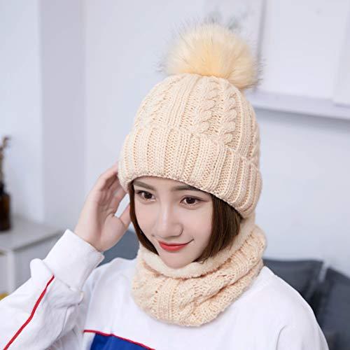 438a4f284 LCZTN Womens Pom Beanie Hat Scarf Set Girls Cute Winter Ski Hat Slouchy  Knit Skull Cap with Fleece Lined