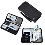 Vemingo Family Passport Holder RFID-Blocking Travel Wallet Ticket Holder Document Organizer with Zipper for Women & Men, Fits 5 Passports (Black, Large)