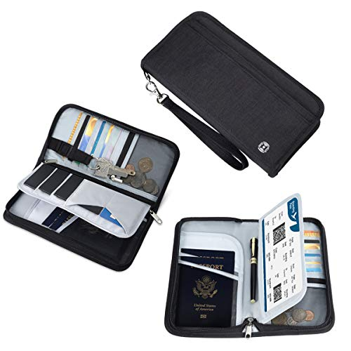 Unisex Zipped Compact Wallet - Vemingo Family Passport Holder RFID-Blocking Travel Wallet Ticket Holder Document Organizer with Zipper for Women & Men, Fits 5 Passports (Black, Large)