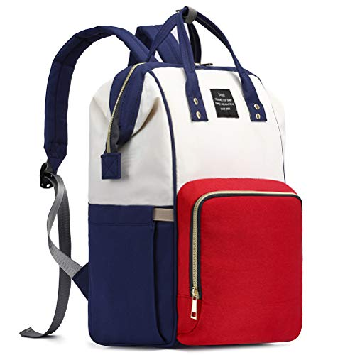 HaloVa Diaper Bag, Trendy Baby Nappy Backpack, Anti-Theft Travel Shoulders Bag, Large Maternity Infant Nursing Rucksack, with Insulated Milk Bottle Pockets and Wet Clothing Pocket, Red-White-Blue
