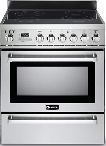 "Verona VEFSEE304PSS 30"" Electric Range 3.6 cu. ft. European Convection Oven, Self-Cleaning, Warming Drawer, Black Ceramic Glass Cooktop 4 Burners Stainless Steel"