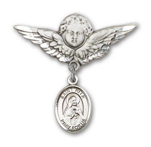Icecarats Créatrice De Bijoux En Argent Sterling St. Rita De Cascia Charme Ange Broche De Badge 1 1/8 X 1 1/8