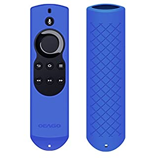 OEAGO Silicone [Anti Slip] Shock Proof Cover Case for All-New Fire TV with 4K Alexa Voice Remote (2017 Edition) (2nd Gen) / Fire TV Stick Alexa Voice Remote (Blue)