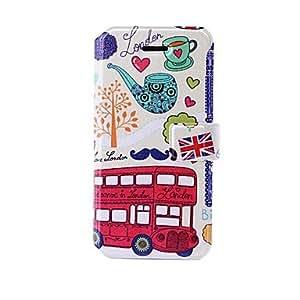 Conseguir La moda de Londres autobús rojo de patrón estuche de cuero con ranuras de soporte y tarjeta para el iphone 5/5s