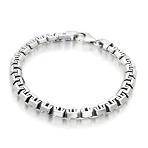 Solid Heavy Strong Franco Square Link Chain Bracelet For Men 925 Sterling Silver Made In Italy 8.5In 19