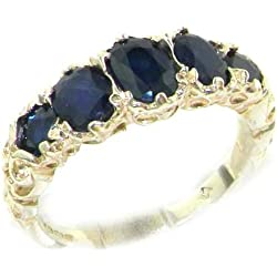 14k White Gold Natural Sapphire Womens Band Ring - Sizes 4 to 12 Available