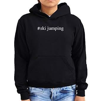 #Ski Jumping Hashtag Women Hoodie