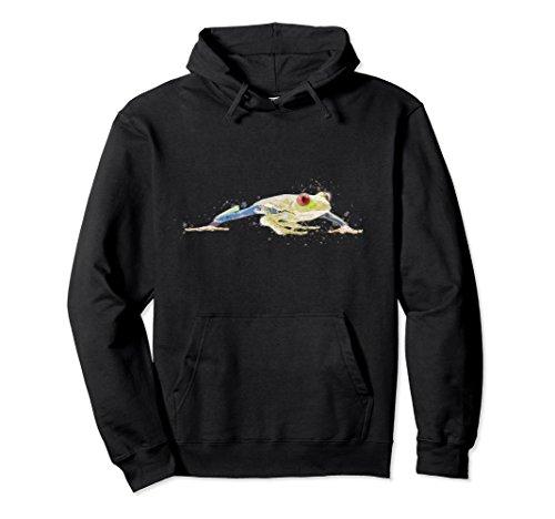 Tree Frog Sweatshirt - Unisex Red Eyed Tree Frog Pullover Hoodie Medium Black