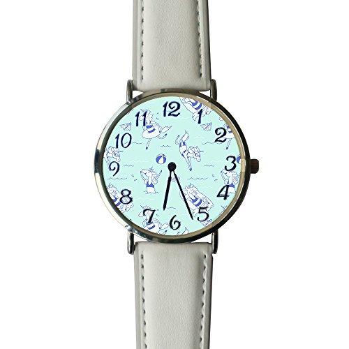 YUA85FSW Womens Unicorn Swim Watchse Leather Band Analog Quartz Vogue Wrist Watch by YUA85FSW