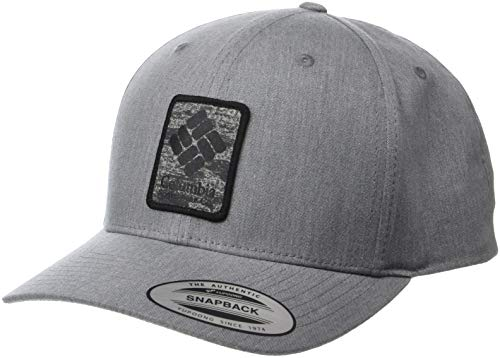 Columbia Cotton Hat - Columbia Men's Trail Essential Snap Back Hat, Charcoal Heather gem Patch, One Size