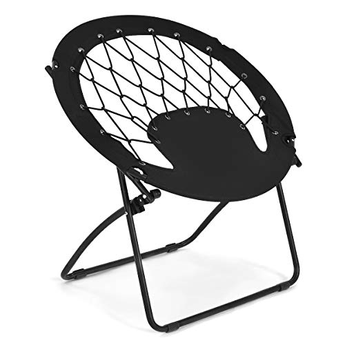 Giantex Folding Bunjo Bungee Chair, Outdoor Camping Gaming Hiking Chair, Perfect for Garden Patio, Web Chair Portable, Steel Bungee Dish Chairs for Adults Kids, Black