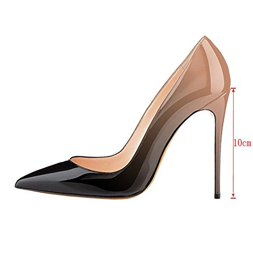Gradient Women Animal Pumps Shoes Patent Usual nude VOCOSI Pointy Toe for Heels Print 10cm High Dress black AIwxpqY