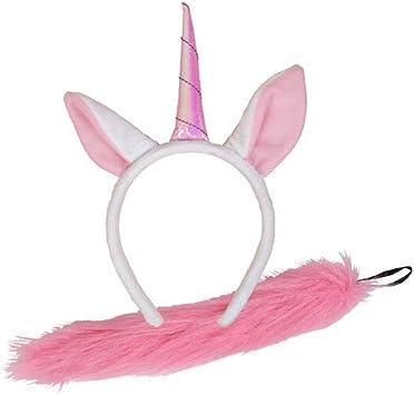 PINK UNICORN EARS HEADBAND TAIL SET Animal Fancy Dress Ladies Kids Girls Kit UK
