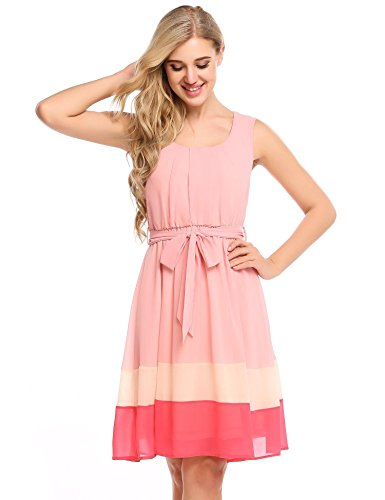 TelDen a line Cocktail Dress Pleated Swing Dress Pink Chiffon Dress Dresses -