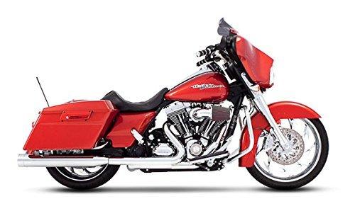 Rinehart Racing 4''; Slip-On Mufflers Chrome with Chrome End Caps for 1995-2016 Harley Touring