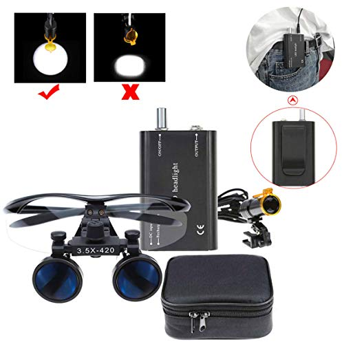 BONEW 3.5X Surgical Binocular Loupes Optical Glass + 5W LED Headlight Powerfullight with Clip-on Type + Cloth Bag DY-008 (Black)