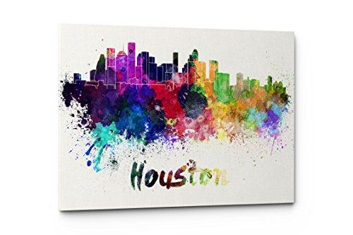 Watercolor City Splash Skyline Wall Art Canvas Print (Houston)