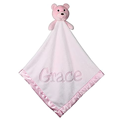 Baby personalized gifts amazon large ultra plush personalized teddy bear baby blanket gifts 40x40 inch pink boy or girl negle Images