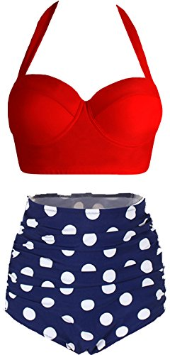 Amourri Womens Retro Vintage Polka Underwire High Waisted Swimsuit Bathing Suits Bikini (Vintage Inspired Bathing Suit)