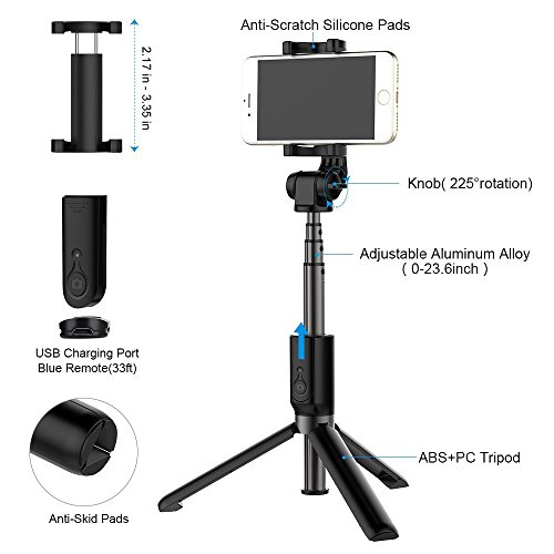 hot sale Selfie Stick Tripod, Extendable Selfie Stick with Bluetooth Wireless Remote and Tripod Stand for iPhone X/8/8 Plus/iPhone 7/7 Plus/Galaxy Note 8/S8/S8 + (Black)