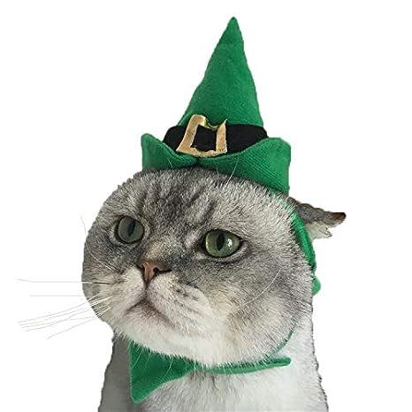 DELIFUR - Disfraz de Navidad para Perro con Sombrero con Collar para Gatos y Perros pequeños, Traje Verde de Navidad, 2 Piezas: Amazon.es: Productos para ...