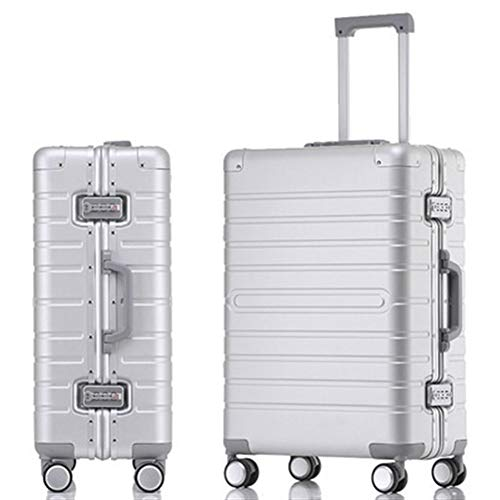 Nuofake Suitcase Spinner Wheels Rolling Luggage Dropshipping 20″ 24″ 28″ inch Full Aluminum Alloy Luggage Trolley Case Men Women Our suitcases (Color : Silver, Luggage Size : 20″)