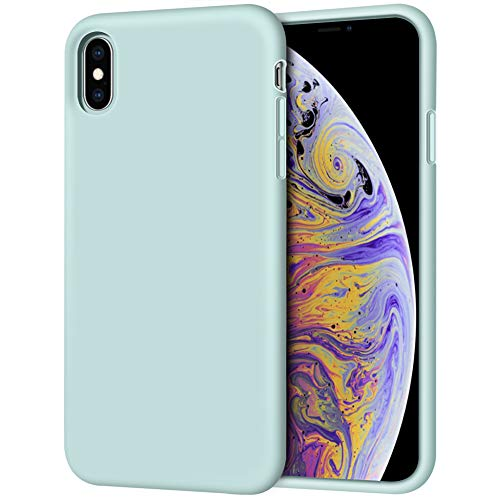 iPhone Xs Max Case, Anuck Soft Silicone Gel Rubber Bumper Case Anti-Scratch Microfiber Lining Hard Shell Shockproof Full-Body Protective Case Cover for Apple iPhone Xs Max 6.5 2018 - Mint