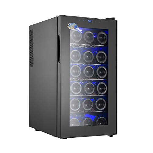 (Electro Boss Black 18 Bottle Wine Cooler Thermoelectric Fridge to Chill Red or White, Digital Temperature Display, Reversible Glass Door, Model #5320,)