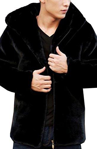 S&S-Men Fashion Solid Winter Warm Thick Outerwear Hooded Zipper Faux Mink Fur Coat Black