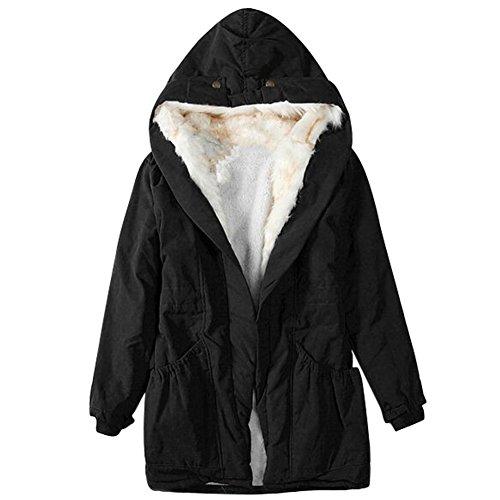 5545f71464 iBaste Encapuchado Chaqueta para Mujer Algodón Jacket para Invierno  Mantener caliente Manga Larga Cuello de piel