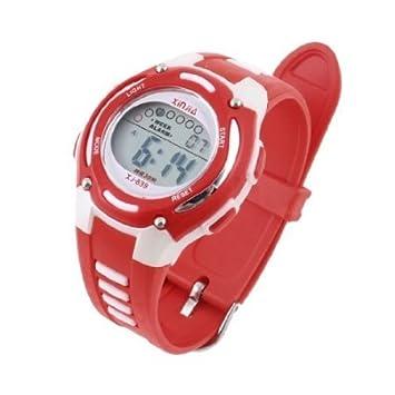 Se?oras Banda ajustable Resistente al agua Cron?metro digital reloj de pulsera roja