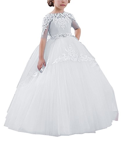 Abaowedding Flower Girls Long First Communion Dresses Kids Pageant Prom Ball Gowns(Size 10,White) -