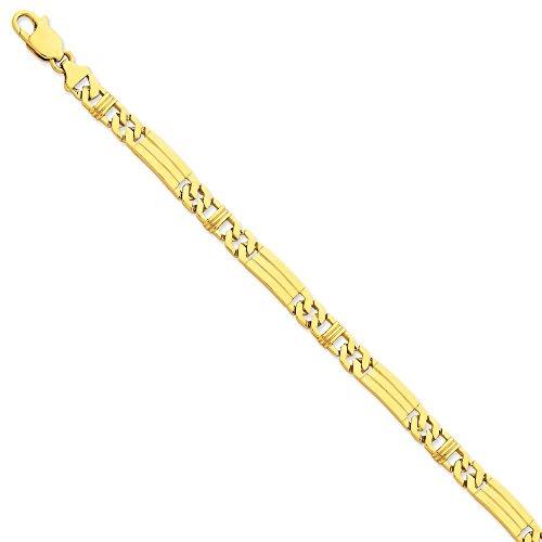 """14 carats - 7 mm-poli à la main à fantaisie lien Chain Bracelet - 8 """"JewelryWeb-Fermoirs-Mousquetons"""