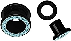 Oreja Piercing túnel de acero negro, azul oscuro con piedras y revestimiento en 18 mm de diámetro