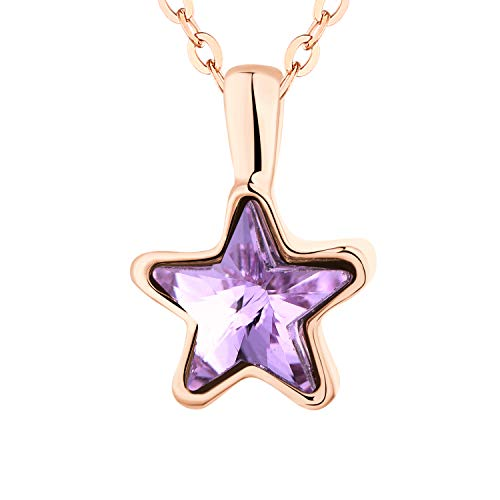 Boormanie Rose Golden Purple Crystal Star Pendant Necklace, Austria Crystal Necklace for Women Chain Length 38+5cm Adjustable
