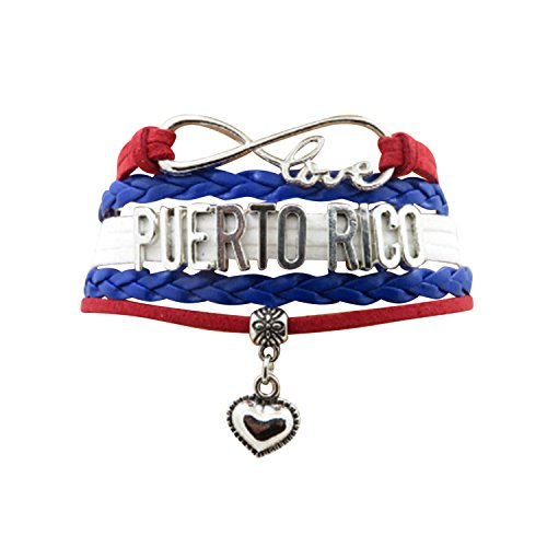 - AccessCube Customized Unisex Infinity Leather Metal Country Flag Bracelet Wristband Cuff (Puerto Rico)