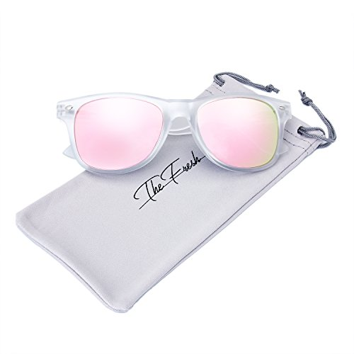 The Fresh Matte Frosted Frame Reflective Colored Mirror Lens Horn Rimmed Sunglasses with Gift Box (2-Frost, Pink -