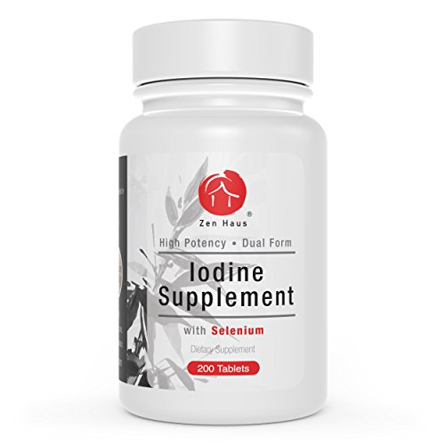 Zen Haus 12.5 mg Iodine Potassium Iodide Supplement Plus Selenium, Chromium, L-Theanine, Riboflavin (B2) - Thyroid Support - 200 Tablets - High Potency Lugol's Alternative