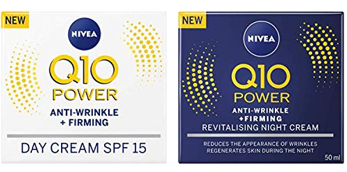 (Nivea Q10 SPF 15 Anti-Wrinkle Face Day Cream Plus Face Night Cream, 50 ml)