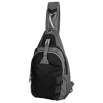 Sling Bag Chest Shoulder Unbalance Gym Fanny Backpack Sack Satchel Outdoor Bike nylon fabric black, by LC Prime
